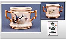 Royal Worcester Hand Painted Twin Handled Vase.