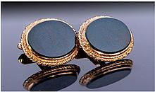 Gents 9ct Gold Cufflinks, The Oval Fronts Set With
