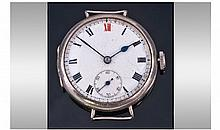 Silver Cased Trench Watch, White Enamelled Dial