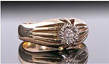 9ct Gold Gypsy Set Single Stone Diamond Ring.