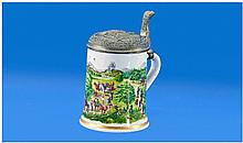 Modern Porcelain German Stein With Moulded Pewter