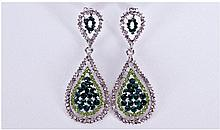 Pair of Green and White Austrian Crystal Statement