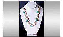 Freshwater Baroque Pearl and Turquoise Necklace,