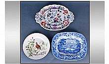 Three Staffordshire Plates. 1, Rural scenery blue