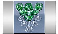 Set Of Six Cut Glass Hock Glasses. Each 7.75