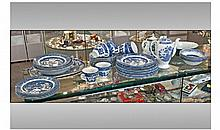 Collection Of Blue And White Staffordshire Willow