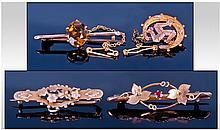 A Collection Of Antique 9ct Gold Brooches. 4 in