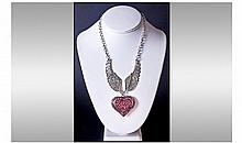 Dark Pink and White Austrian Crystal Angel Wings