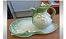 Graff Porcelain Decorative Lidded Teapot And Tray