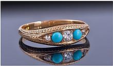 Early 20th Century 18ct Gold Diamond And Turquoise