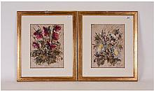 Pair of Framed and Glazed Modern Abstract Floral