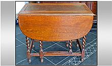 1930's Drop Leaf Table, with barley twist legs and