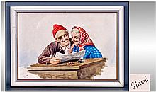 Framed Italian Watercolour. 'Elderly Couple