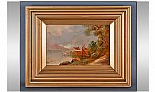 P.E (Monogram) Signed Oil On Board. A yacht in a