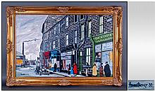 Howard Turner 'Sun Street - Old Keighley' oil on
