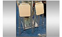 Pair f Collapsible Bar Stools, Light brown