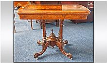 Mid Victorian Burr Walnut Card Table, Fold Over