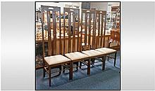 Set Of Four Oak Dining Chairs, Produced Under