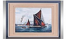 R. Siger. A fine watercolour of a Thames sailing