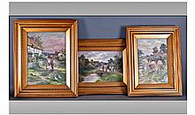 Three Oil Paintings on Board depicting idyllic
