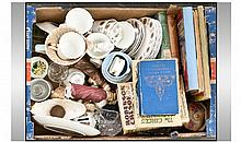 Box Of Assorted Books, China, Tea Set, Etc.