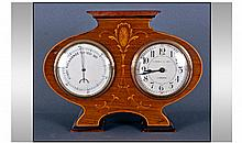 Art Nouveau Mahogany Combination Mantle Clock, of