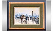 John L Chapman 1946 London Bridge / Figures Early