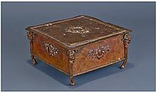 French Brass Casket, Of Square Form The Hinged Lid