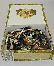 Box Containing A Quantity Of Costume Jewellery To Include Beads, Earrings,