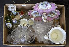 Collection Of Mixed Glass And Porcelain To Include A French Hand Painted Tr