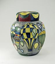 Moorcroft Modern and Large Lidded Ginger Jar ' Balloons ' Designer by Jeann