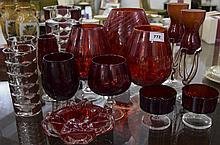 Collection Of Ruby Red Glass Ware. Including Vases, Drinking Glasses, Ashtr