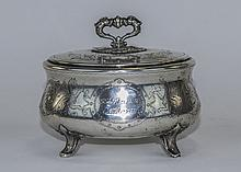 German Early 20th Century Silver Hinge Lidded and