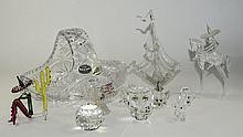 Collection Of Glassware Comprising Bohemia Lead Crystal Handled Bowl, Swaro
