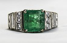18ct White Gold Set Emerald And Diamond Ring. The