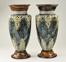 Doulton Lambeth Pair of Fine Stoneware Vases with