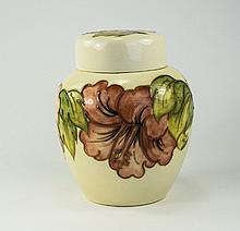 W. Moorcroft Lidded Ginger Jar ' Coral Hibiscus ' Design and Leaves on Crea