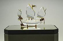 Swarovski Crystal Memories - Chinese Junk Ship with Stand, From The Journey