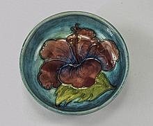 Moorcroft Small Footed Bowl ' Hibiscus ' Design on Bluey Ground. Paper Labe