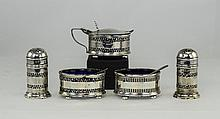 George V - Nice Quality 5 Piece Silver Cruet Set.