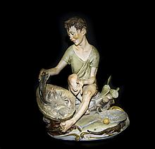 Capodimonte Signed Figure of a Fisherboy, shown seated on a rocky wall, wit
