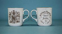 Royal Worcester Pair of 'Queen Elizabeth II Silver Jubilee' Mugs, 1952-1977