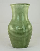 William Moorcroft Natural Pottery Lustre Vase with Green Monochrome Glaze a
