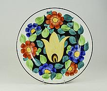 Grays Pottery Hand Painted Stylised Floral Cabinet Plate. 10.75 Inches Diam
