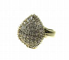 18ct White Gold Diamond Cluster Ring Pear Shaped C