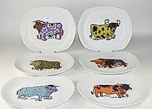 6 Beefeater Steak And Grill Set Plates