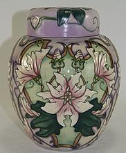 Moorcroft Large Modern Lidded Ginger Jar, ''Blakeley Mallow'' Design. Desig