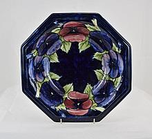 William Moorcroft Large Octagonal Shaped Bowl, with ' Pansy ' Design on Blu