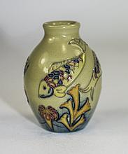 Moorcroft Modern Miniature Tube lined Fish Decorated Vase. Date 2013. Full