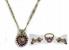 14ct Gold Ruby And Diamond Jewellery Set. Comprisi